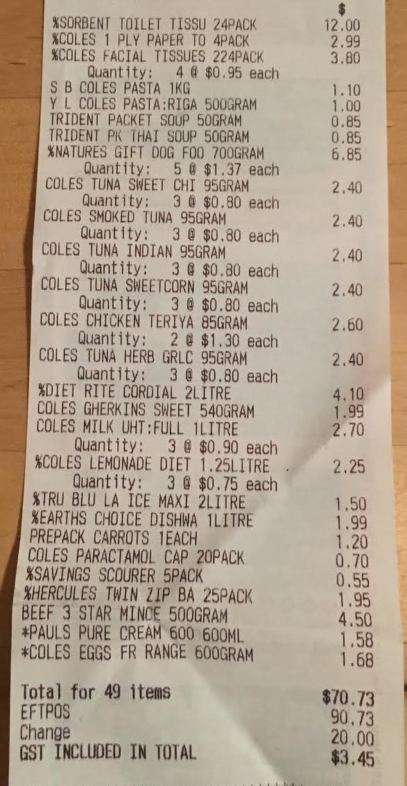 Coles $70.73 grocery shop for the fortnight