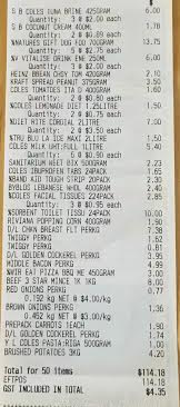 $114 Coles Grocery Receipt