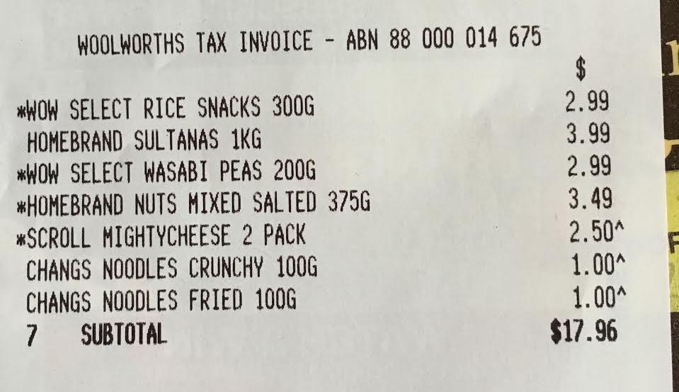 Snack mix receipt