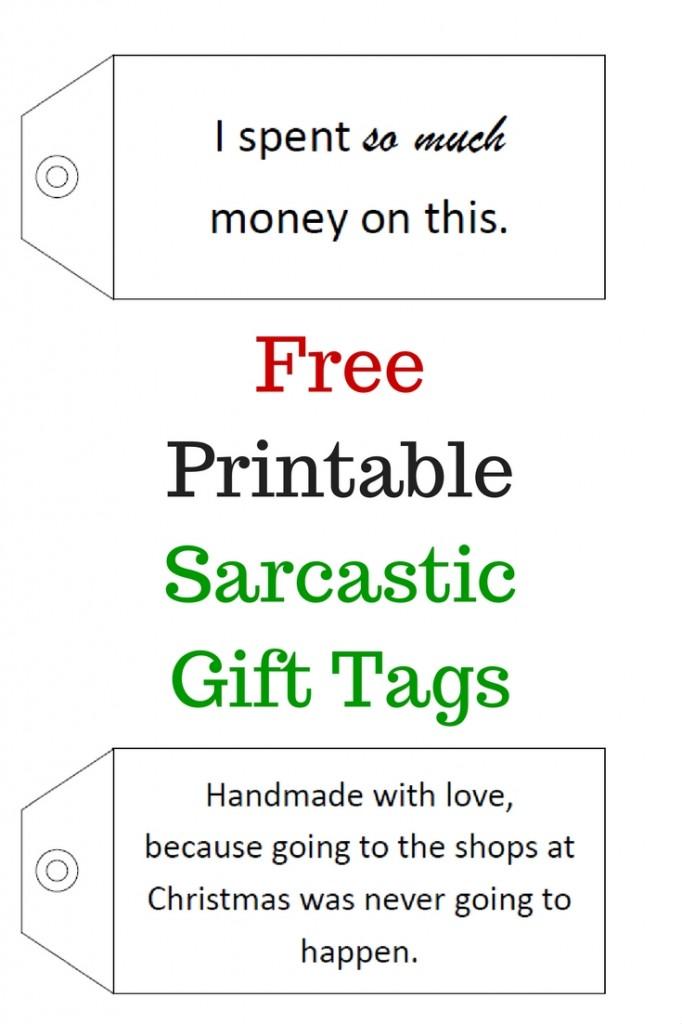 Free Printable Sarcastic Gift Tags