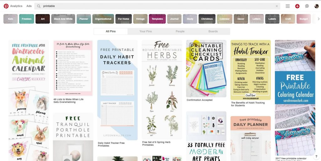 Pinterest Search For Printables