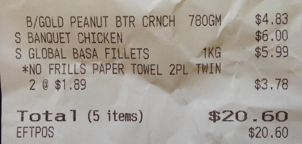 IGA receipt
