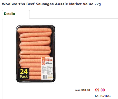Woolworths Sausages
